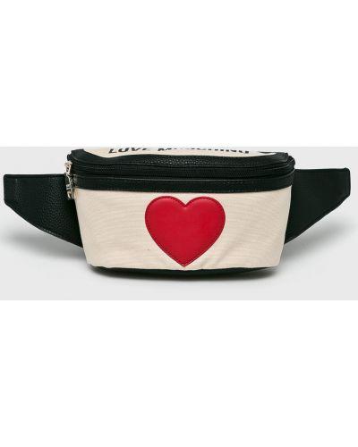 Поясная сумка текстильная бежевый Love Moschino