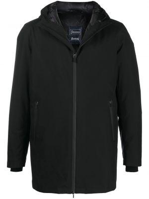 Puchaty z rękawami czarny długi płaszcz z kapturem Herno