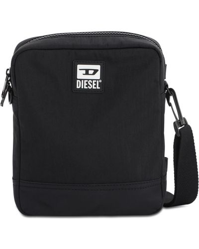 Czarny z paskiem nylon torba na ramieniu z łatami Diesel