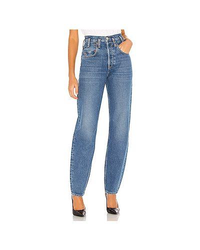 Асимметричные хлопковые прямые джинсы с карманами на пуговицах Re/done