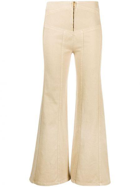 Брючные приталенные бежевые расклешенные брюки Alberta Ferretti