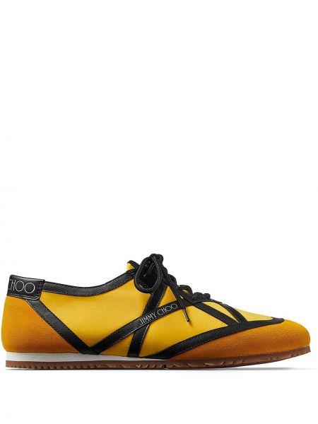 Черные кожаные кроссовки на шнурках Jimmy Choo
