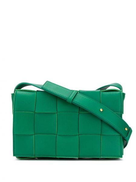 Зеленая сумка через плечо с перьями на молнии с карманами Bottega Veneta