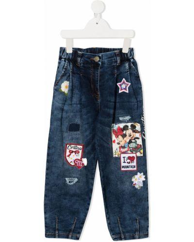 Хлопковые синие джинсы с высокой посадкой с карманами Monnalisa