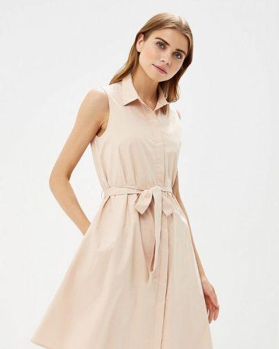 Бежевое платье осеннее Lusio