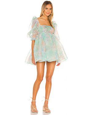 Платье с поясом из органзы плиссированное Selkie