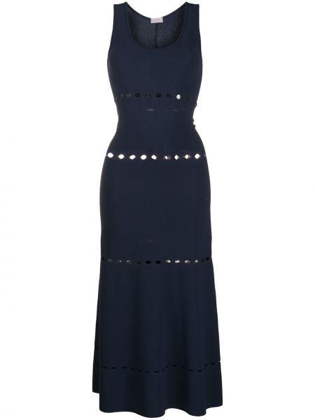 Синее платье миди с вырезом без рукавов Mrz