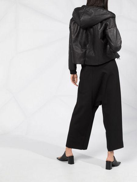 Черная кожаная короткая куртка с капюшоном Thom Krom