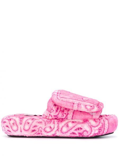 Розовые хлопковые слиперы без застежки с открытым носком Natasha Zinko