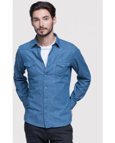 Niebieska koszula slim Vistula