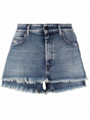 Хлопковые джинсовые шорты классические с бахромой Diesel
