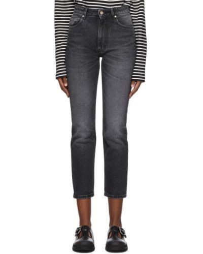 Кожаные черные прямые джинсы стрейч с заплатками Ami Alexandre Mattiussi