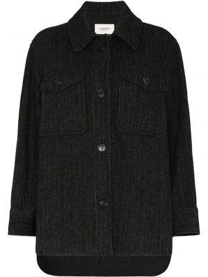 Шерстяное черное пальто классическое с воротником Isabel Marant étoile