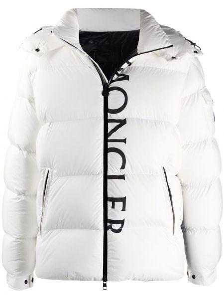 Puchaty klasyczny biały kurtka z kapturem z kieszeniami Moncler