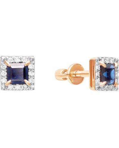 Золотые серьги c сапфиром серебряный Vesna Jewelry