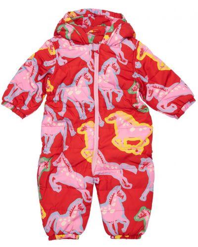 Красный нейлоновый комбинезон с капюшоном на молнии Stella Mccartney Kids