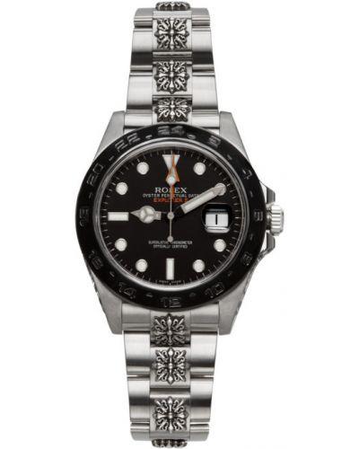 Czarny zegarek mechaniczny skórzany szafir Mad Paris
