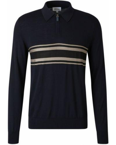 Niebieski sweter w paski Brioni