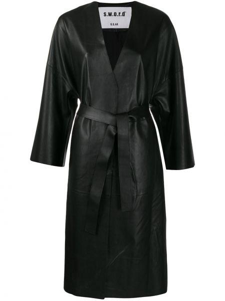 Черное кожаное длинное пальто с капюшоном S.w.o.r.d 6.6.44
