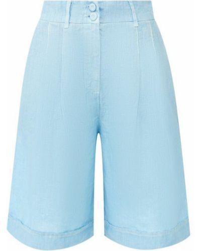 Льняные шорты - голубые 120% Lino