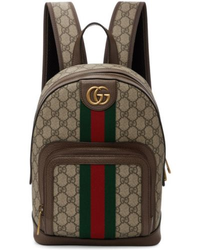 Кожаный рюкзак белый бежевый Gucci