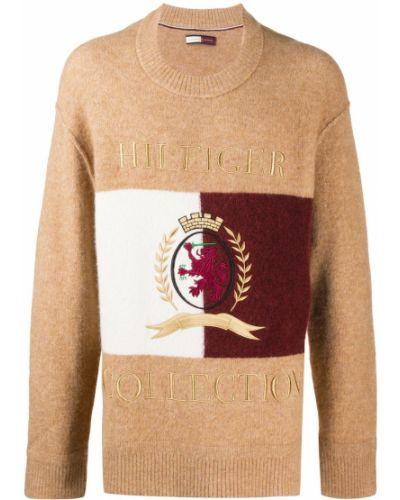 Вязаный коричневый вязаный джемпер с вышивкой из альпаки Hilfiger Collection
