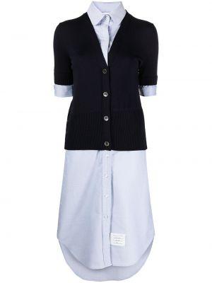 Niebieska sukienka krótki rękaw Thom Browne