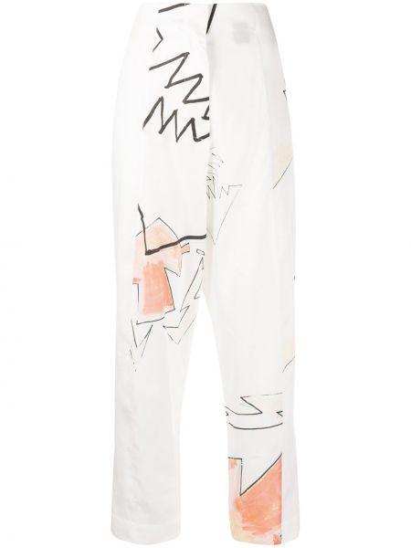 Spodnie z wysokim stanem materiałowe z paskiem Each X Other