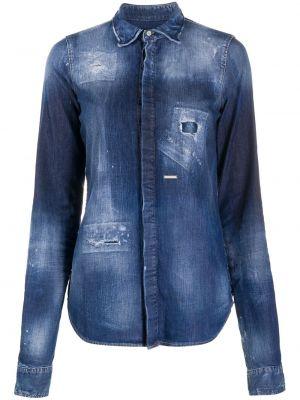 С рукавами синяя джинсовая рубашка с воротником на пуговицах Dsquared2