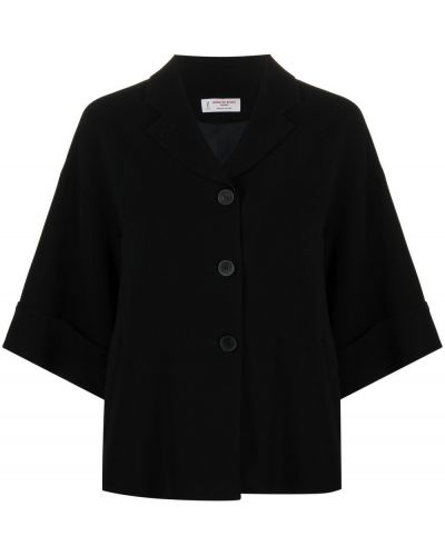 Черная куртка оверсайз для полных Alberto Biani