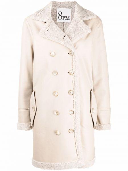 Белое пальто с воротником 8pm