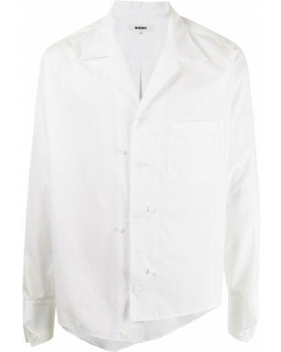 Biała koszula bawełniana z długimi rękawami asymetryczna Sulvam