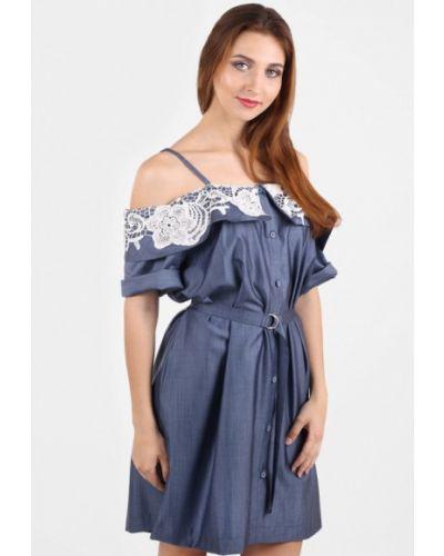 Платье мини весеннее синее Panove