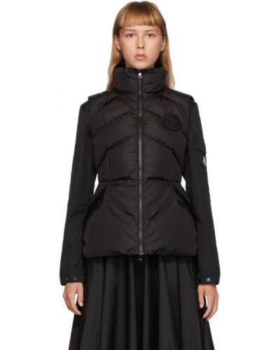 Черная жилетка с карманами с воротником без рукавов Moncler