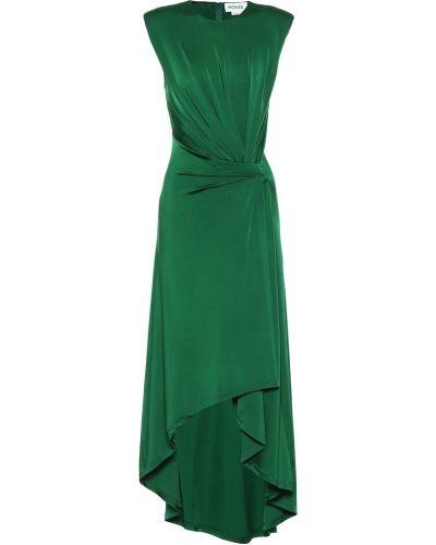 Зеленое платье миди с драпировкой из вискозы с изумрудом Monse
