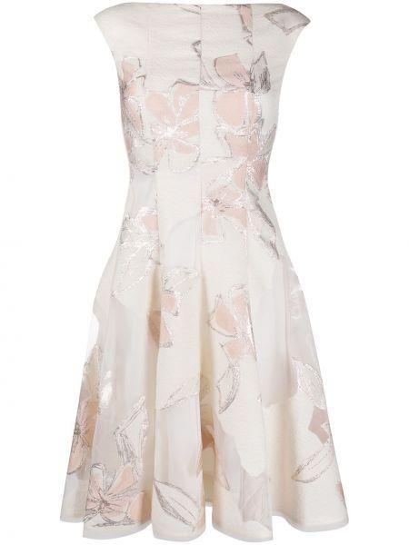 Бежевое шелковое плиссированное платье на молнии Talbot Runhof