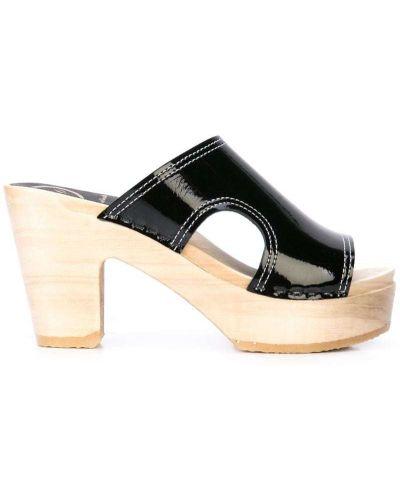 Массивные черные босоножки на высоком каблуке на каблуке No.6