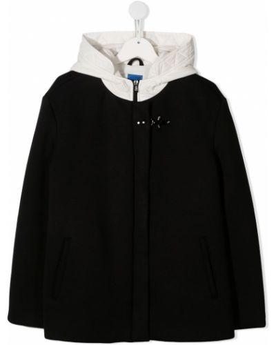 Прямая черная куртка с капюшоном на молнии из вискозы Fay Kids