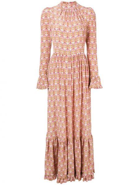 Шелковое розовое платье макси с длинными рукавами La Doublej