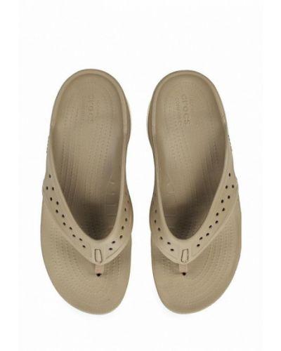 Бежевые сланцы Crocs