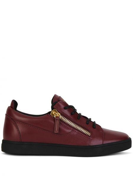 Фиолетовые кожаные кроссовки на шнурках Giuseppe Zanotti