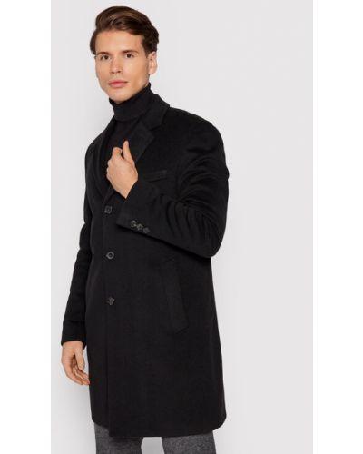 Płaszcz wełniany - czarny Boss