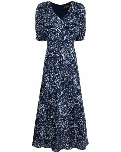 Вечернее платье миди - синее Nicole Miller