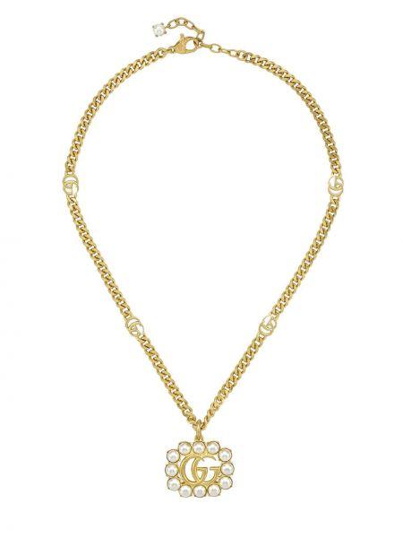 Złoty naszyjnik perły pozłacany Gucci