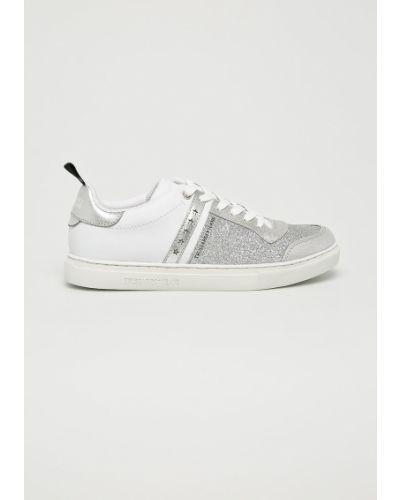 Джинсы на шнуровке серебряного цвета Trussardi Jeans