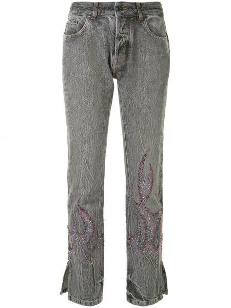 Хлопковые серые джинсы со стразами на пуговицах Filles A Papa
