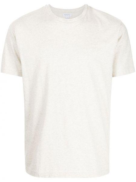 Белая футболка короткая Sunspel