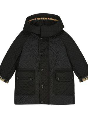 Czarny płaszcz pikowany Burberry Kids