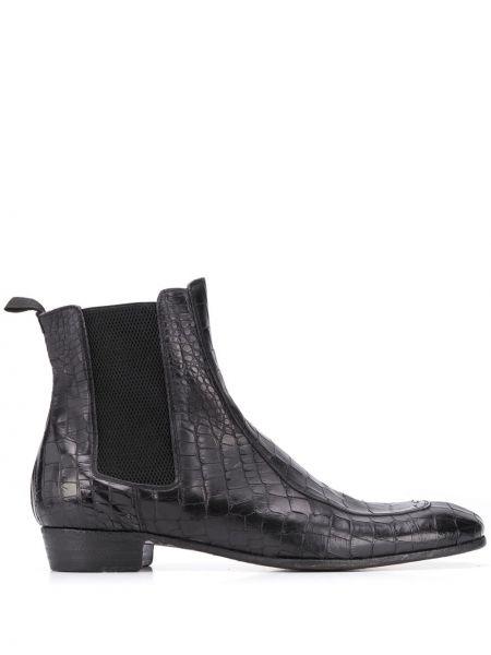 Кожаные черные кожаные ботинки квадратные на каблуке Lidfort