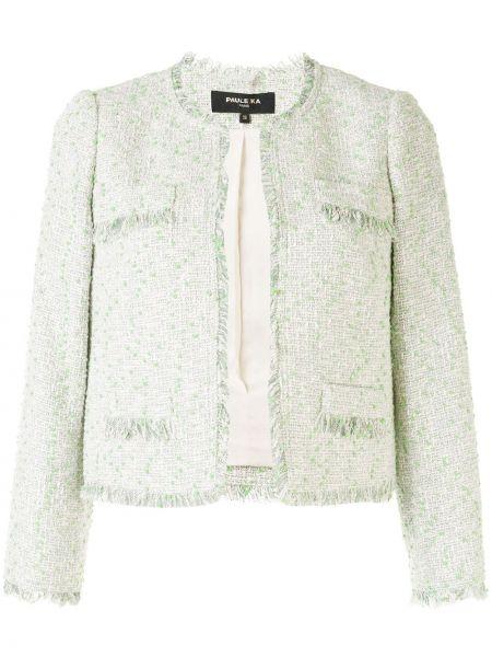 Шерстяной зеленый короткая куртка с вырезом Paule Ka